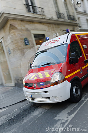 Red Fire Truck in Paris Editorial Stock Photo