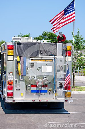 Fire truck with United States flag