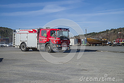 Rescue center is alerted and fire truck arrives, photo 14 Editorial Image