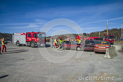 Rescue center is alerted and fire truck arrives, photo 15 Editorial Stock Image