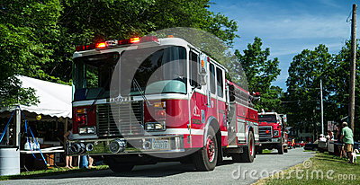 Fire Trucks in a Small Town Parade Editorial Stock Photo