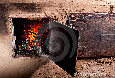 Fire in a wood burning stove