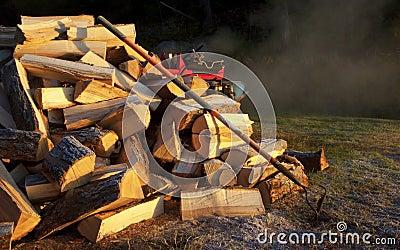 Fire Wood, Log Splitter, Rake