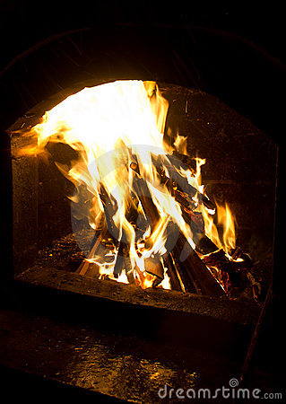 Fire in wood oven