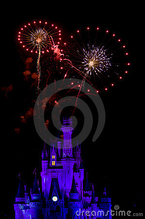 Fire Works over Disney Castle Editorial Image
