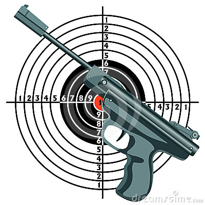 Firearm, the gun against the target.