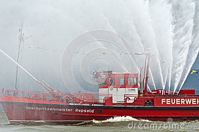 Fireboat of the firebrigade Hamburg Editorial Image