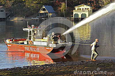 Fireboat Spraying Water Editorial Image