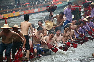 Firecracker on the Dragon boat Editorial Image