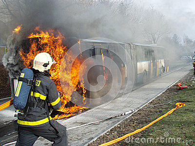 Firefighter in action Editorial Photography