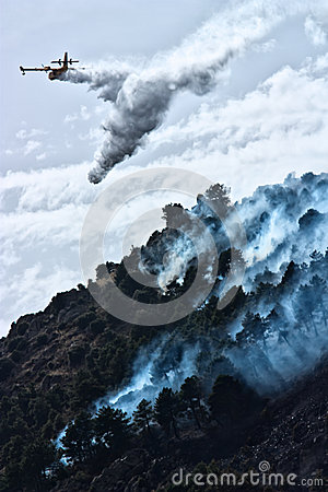 Firefighter aircraft throw water Editorial Stock Photo