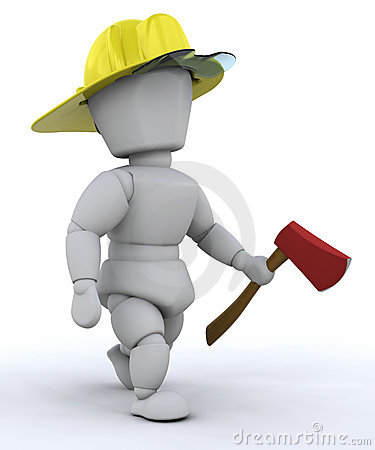 Firefighter with axe