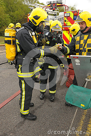 Firefighter in breathing gear Editorial Stock Image