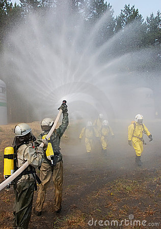Firefighter extinguishes fire