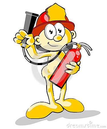 Firefighter with a fire extinguisher in his hands