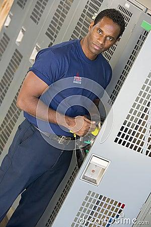 Firefighter in the fire station locker room