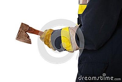 Firefighter holding axe