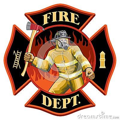 Firefighter Inside Maltese Cross Symbol