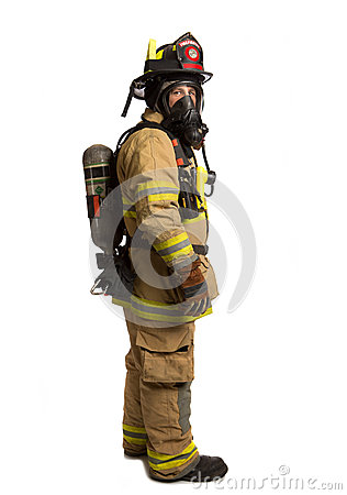 Firefighter with mask and airpack protective suit
