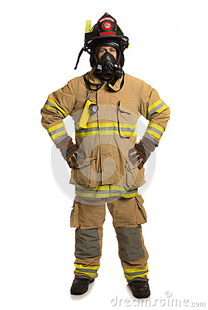 Firefighter with mask and fully protective suit