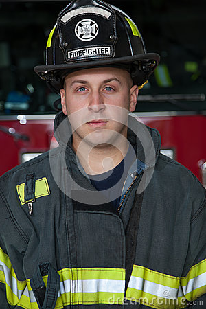 Firefighter Portrait In Front of Fire Truck