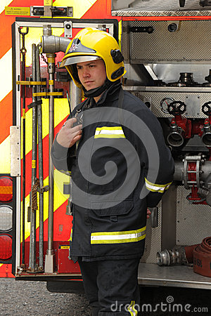 Firefighter radio check Editorial Photography