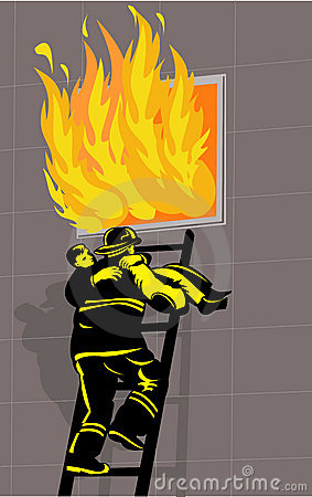 Firefighter Rescue Boy Burning Stock Photos - Image: 10484283