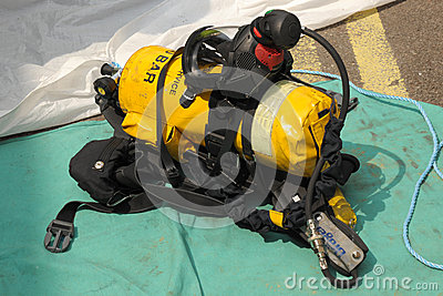 Firefighter s breathing apparatus. Editorial Image