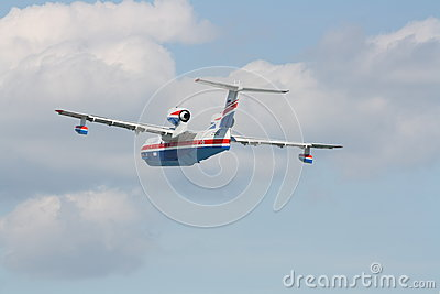 Firefighter seaplane Be-200 in flight Editorial Image