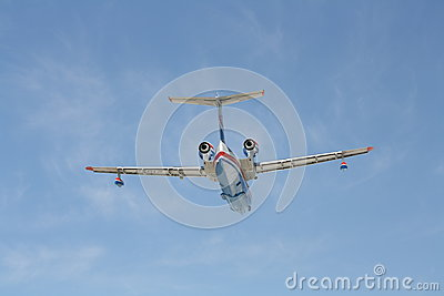 Firefighter seaplane BE-200ES in flight Editorial Stock Image