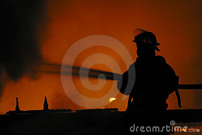 Firefighter in silhouette