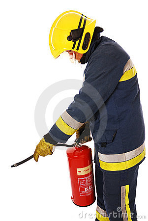 Free Firefighter With Fire Extinguisher Stock Images - 12660974