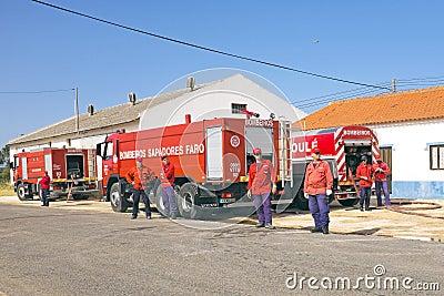 Firefighters fighting a huge bushfire in Aljezur Editorial Stock Photo