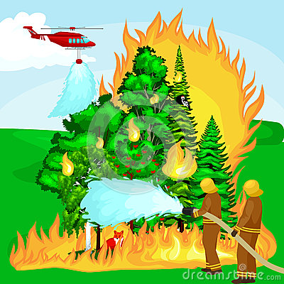 Firefighters in protective clothing and helmet with helicopter extinguish with water from hoses dangerous wildfire.Man Vector Illustration