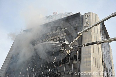 Firefighters Tackle a Blaze in an Office Block Editorial Photography