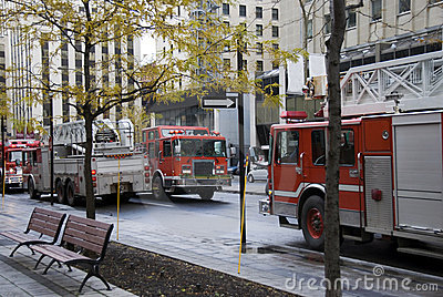 Firefighters vehicles in Montreal