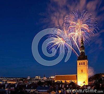 Fireworks in Tallinn, Estonia