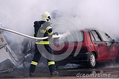 Fireman at car fire