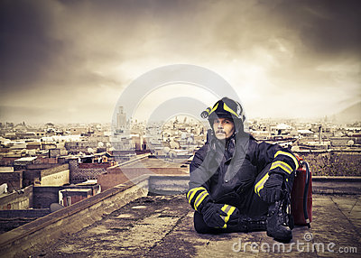 Fireman on a City Roof