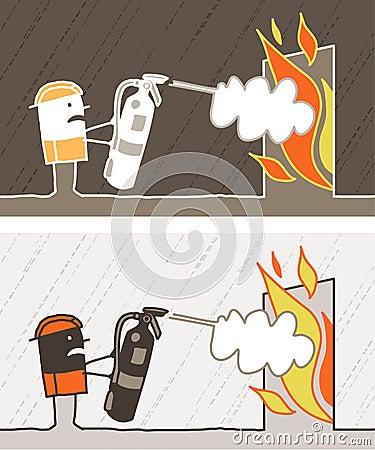Fireman colored cartoon