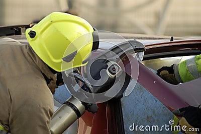 Fireman cutting boot