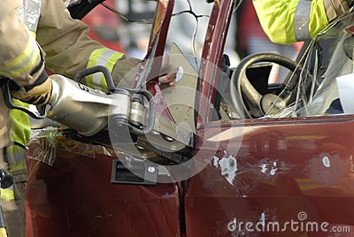Fireman cutting car
