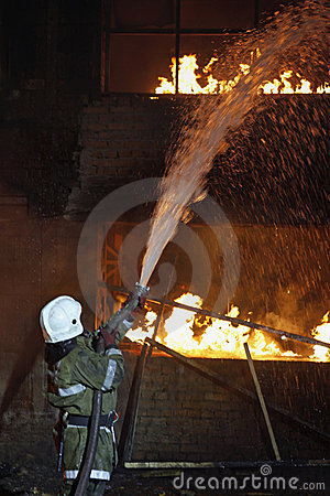 Fireman fighting a fire