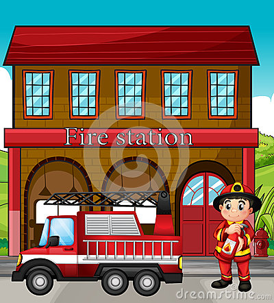 Fire Station Clip Art Black And White A fireman with a fire truck in