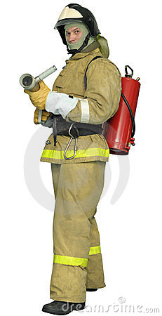 Fireman With A  Fog Nozzle Royalty Free Stock Image - Image: 23555716