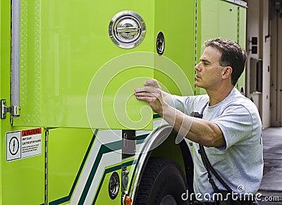 Fireman getting ready