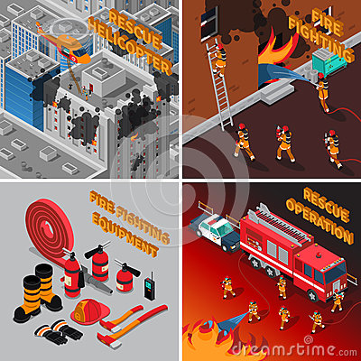 Free Fireman Isometric Concept Royalty Free Stock Photography - 83731977
