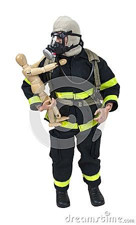 Fireman Model Holding a Wooden Child