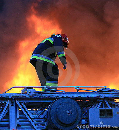 Fireman in risky action
