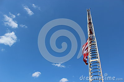 Fireman s ladder and American flag